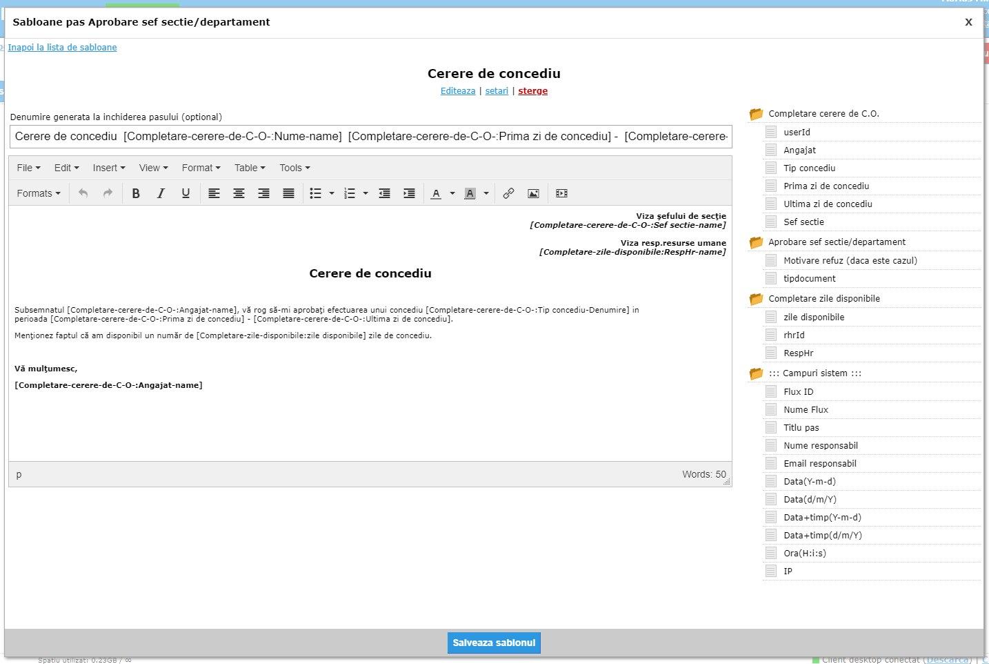 Administrare sablon de document